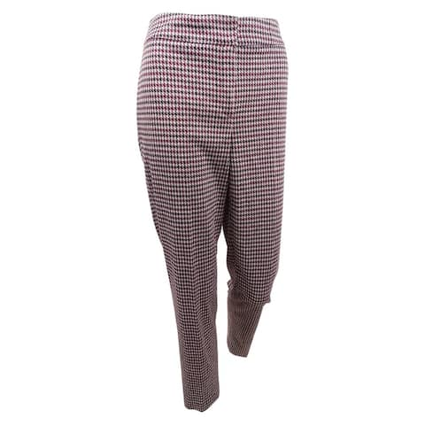 Nine West Women's Plus Size Houndstooth Tapered Pants - Porto Multi