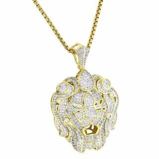 "Zar Lion Head Pendant 14k Gold Tone Lab Diamonds Iced Out 24"" Chain"
