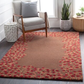 Hand-tufted Rome Floral Border Round Wool Area Rug