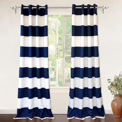 DriftAway Mia Stripe Room Darkening Grommet Top Window Curtain Panel Pair