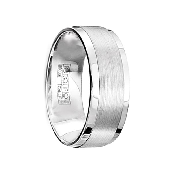 JOHNSON Brushed & Polished Cobalt Men's Wedding Ring with Beveled Edges by Crown Ring - 8mm