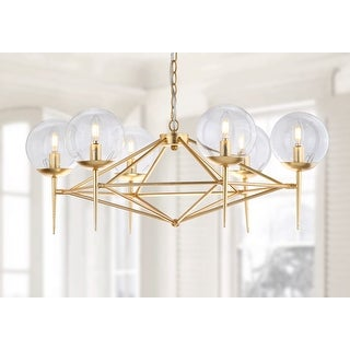"Link to Safavieh Lighting Greyor Adjustable 6-light LED Gold Chandelier - 34"" x 34"" x 12-84"" Similar Items in Chandeliers"