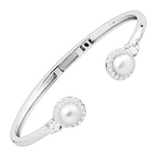 Honora 8-9 mm Freshwater Pearl Cuff Bracelet with Swarovski Zirconia in Sterling Silver