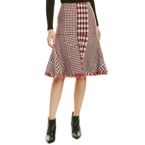 Oscar De La Renta Flare Hem Wool-Blend Skirt