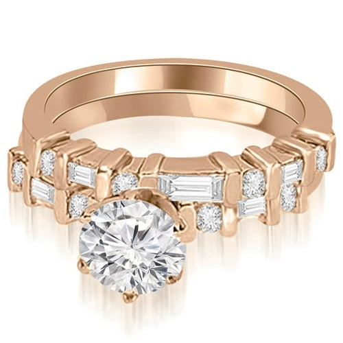 1.55 cttw. 14K Rose Gold Round and Baguette Diamond Bridal Set