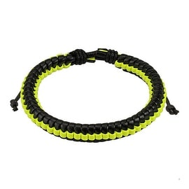 Black Leather Bracelet with Yellow Weaved Center Strip (10 mm) - 7.5 in