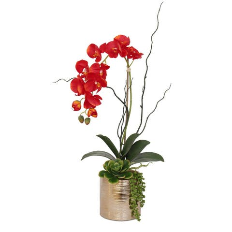 Real Touch Red Orchid Succulent Flower Arrangement in Round Gold Pot - 11W x 6D x 17H