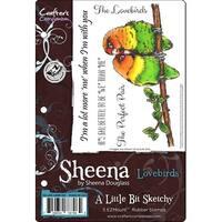 Sheena's A Little Bit Sketchy Tropical Bird Ezmount Stamps-Lovebirds