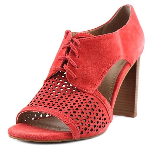 Tahari Megyn Women Peep-Toe Suede Orange Heels