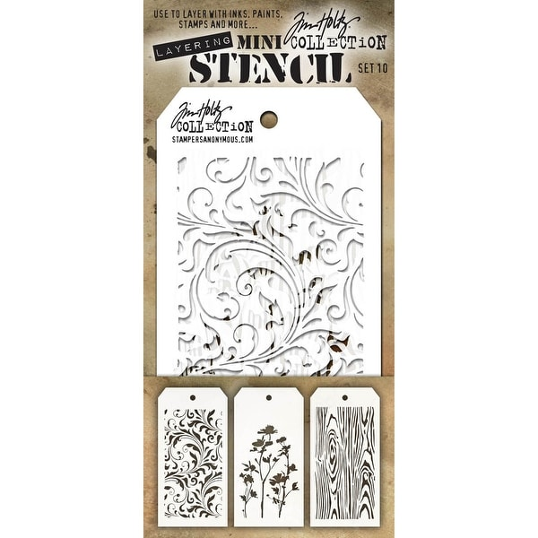 Tim Holtz Mini Layered Stencil Set 3/Pkg-Set #10
