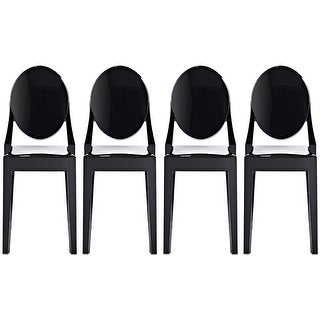Shop 2xhome  Set Of 4 Black Plastic Dining Chairs No Arms Armless  Industrial For Kitchen Bedroom Living Work Home Room Restaurant   Free  Shipping Today ...