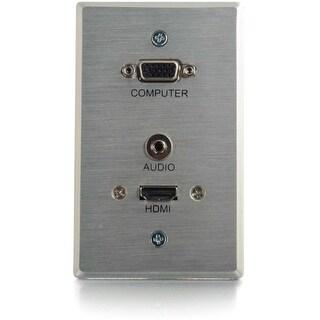 RapidRun 60145 RapidRun VGA + 3.5mm Single Gang Wall Plate + HDMI Pass Through - Aluminum - 1-gang - Aluminum - 1 x HDMI Port(s)