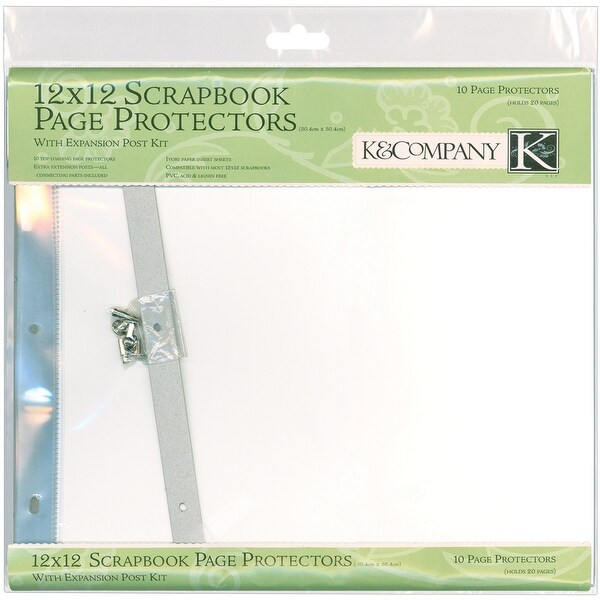 "K&Company Post Bound Page Protector Refills 12""X12"" 10/Pkg-W/White Inserts - White"
