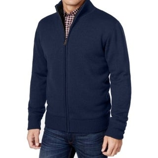 Weatherproof NEW Blue Mens Size Medium M Full Zip Ribbed Sweater