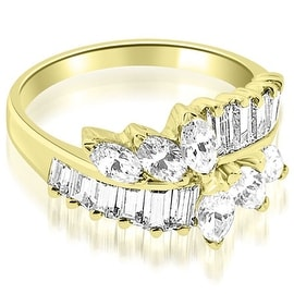 1.75 cttw. 14K Yellow Gold Marquise and Baguette Cluster Diamond Wedding Ring