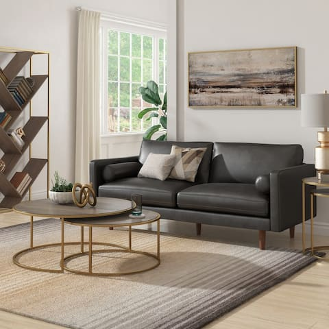 Oana Mid-Century Faux Leather Sofa by iNSPIRE Q Modern