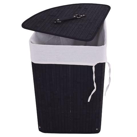 Corner Bamboo Hamper Laundry Basket-Black