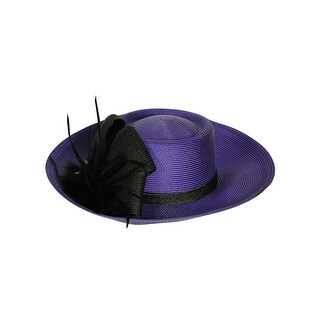 August Accessories Women's Solid Color Wide Brim Hat - Purple - os