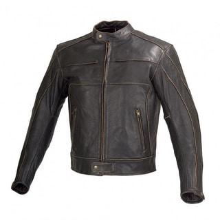 Men Motorcycle Armor Leather Jacket Vintage Style by Xtreemgear Black MBJ024