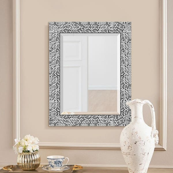 Copper Grove Tichla Beveled Rectangular Accent Mirror With Mirrored Mosaic Frame 19 24 0 75 Overstock 30380466