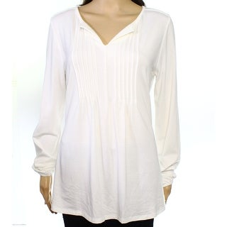 Tommy Hilfiger NEW White Ivory Pintucked Women's Size Large L Knit Top