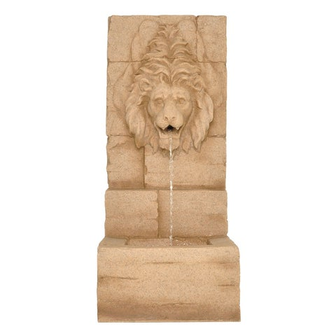 "Zenvida Lion Head Waterfall Outdoor Garden Fountain 39"" Sandstone Finish"