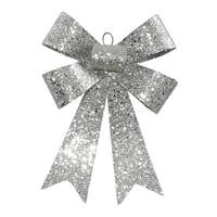 "7"" Silver Glitter 5 Loop Bow Decorative Christmas Ornament"