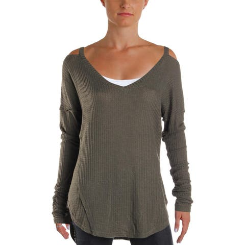 William Rast Womens Pullover Top Knit Cold Shoulder