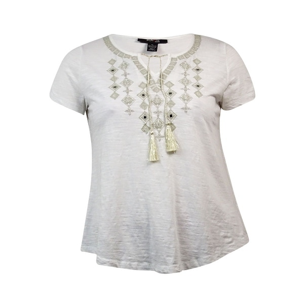 Style & Co Women's Peasant Embellished Short Sleeve Blouse