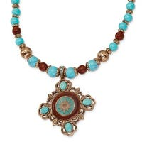 Copper Aqua & Brown Acrylic Beads Necklace - 16in