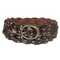 CTM® Women's Braided Belt with Studs