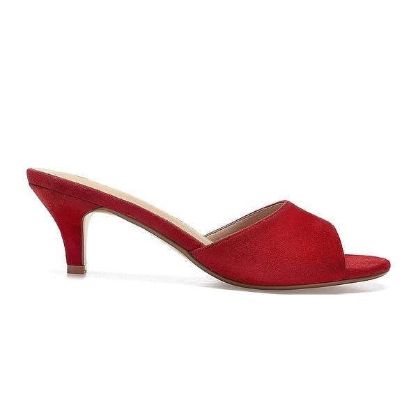 ComeShun Women Low Kitten Heel Mules Slip On Sandals Open Peep Toe Dress Pumps
