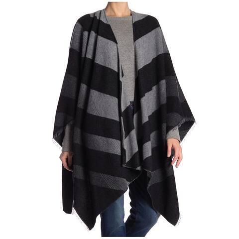 Eileen Fisher Women Gray One Size Fringed-Trim Striped Shawl Wrap