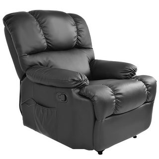 Costway Recliner Massage Sofa Chair Deluxe Ergonomic Lounge Couch Heated W/Control Black