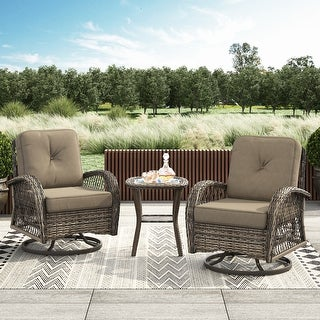 Link to Corvus Livorno Outdoor 3-piece Wicker Chat Set with Swivel Chairs Similar Items in Patio Chairs