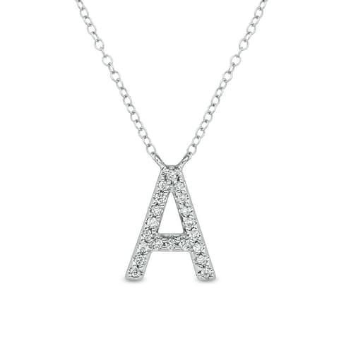 Cali Trove 1/15 cttw Round White Diamond 10K White Gold Initial Alphabet Letter A Pendant Necklace
