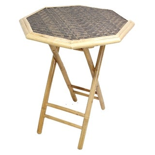 Octagonal Folding Bamboo End Table - Bamboo In Natural/Brown