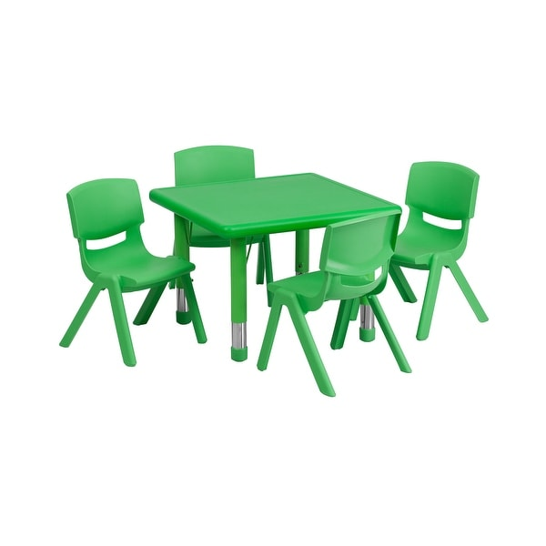 Offex 24'' Square Adjustable Green Plastic Activity Table Set with 4 School Stack Chairs