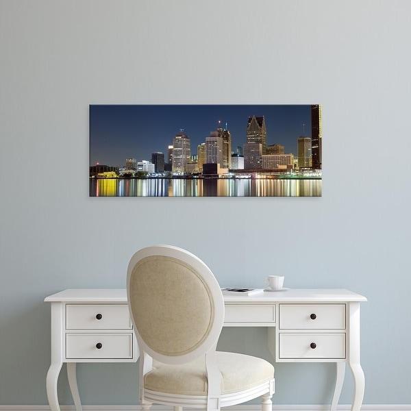 Easy Art Prints Panoramic Image 'Buildings in a city lit up, Detroit River, Detroit, Michigan, USA' Canvas Art