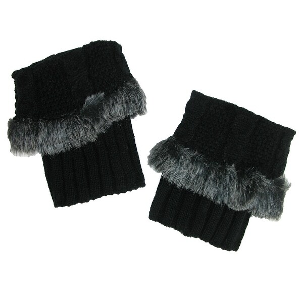 CTM® Faux Fur Trimmed Cable Knit Boot Cuffs