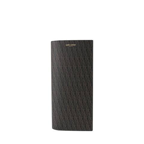 Yves Saint Laurent Men's Black / Brown Supreme Canvas Leather Wallet With Slip Pocket Holder 361321 1059 - One size