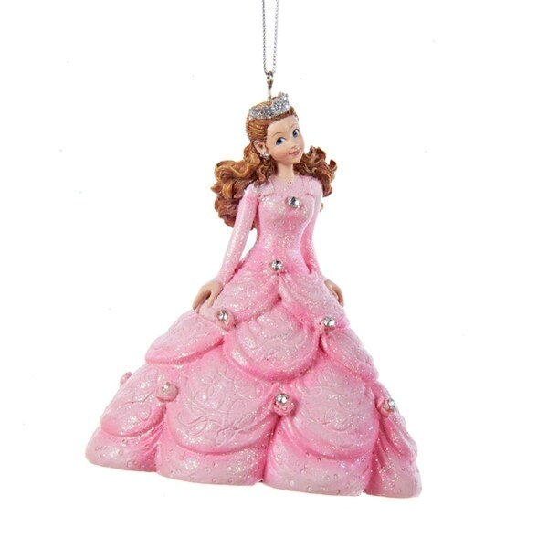 "4"" Ice Palace Princess in Pink Ball Gown Dress with Rhinestones Decorative Christmas Ornament"
