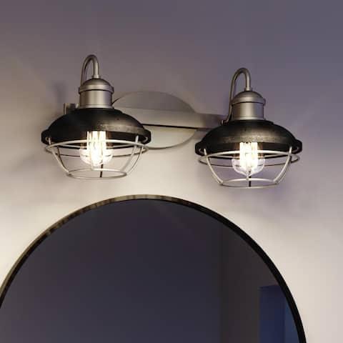 "Luxury Industrial Chic Bath Vanity Light, 8.75""H x 17""W, with Coastal Style, Rustic Polished Nickel, UQL3462 by Urban Ambiance"