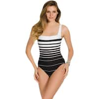 Miraclesuit Right Down the Line Square Neck Underwire One Piece Swimsuit - BLACK/WHITE