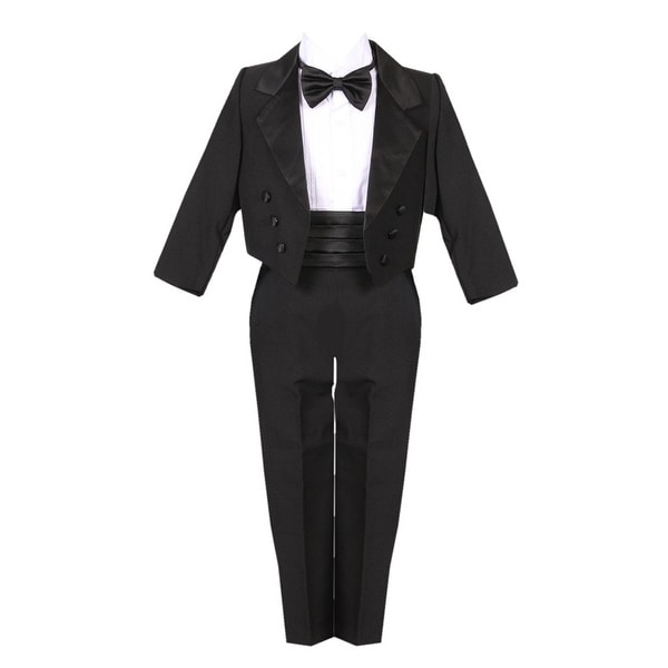 Little Boys Black 5 Piece Vest Jacket Pants Special Occasion Tuxedo Suit
