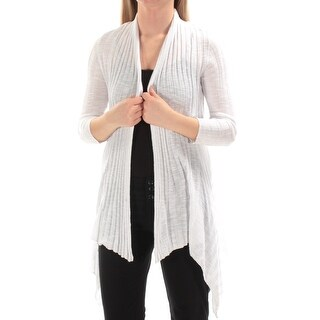 INC $70 Womens New 1507 White 3/4 Sleeve Open Cardigan Casual Sweater XS B+B