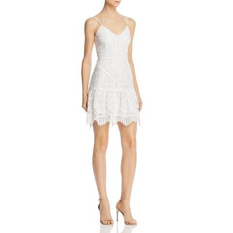 BB Dakota Womens Mini Dress Lace Scalloped - Ivory