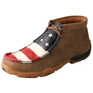 Twisted X Casual Shoes Mens Driving Moc Flag Bomber Red White MDM0027