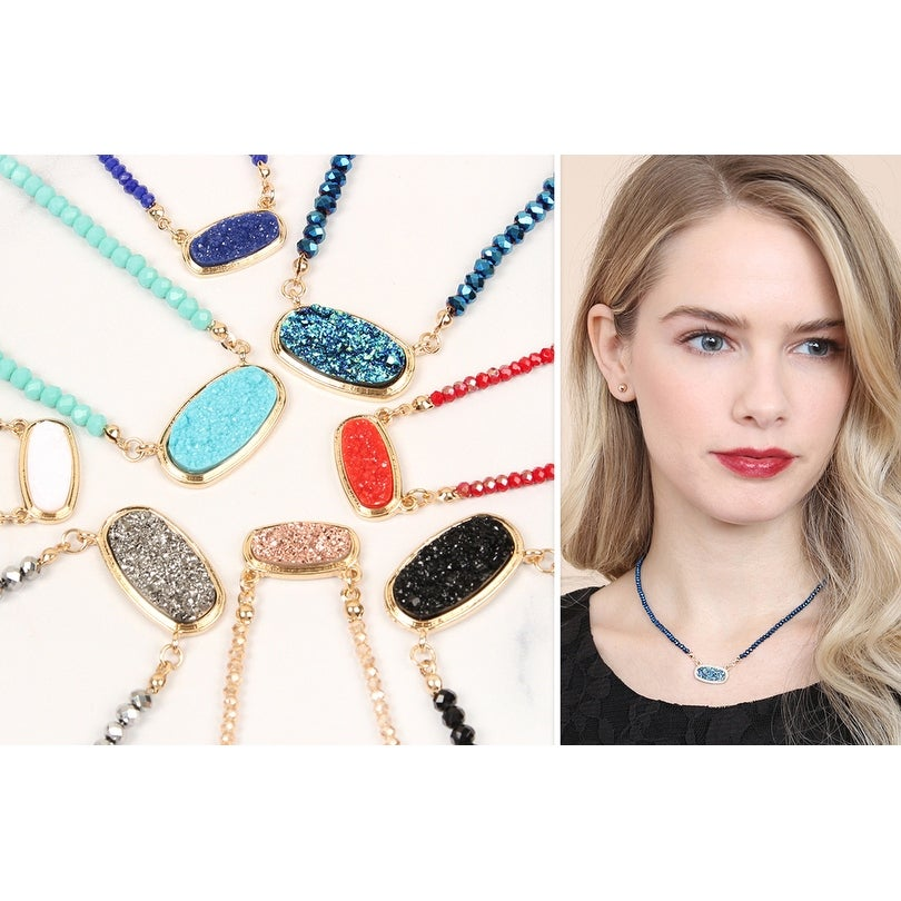 Black Druzy Pendant Crystal Yellow Gold Plated Necklace And Earring Set Jewelry & Watches Jewelry Sets