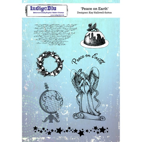 """Indigoblu Cling Mounted Stamp 8""""X5.5""""-Peace On Earth"""